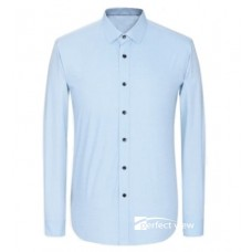 M2-009   Men's shirt  長袖修身白.藍色恤衫